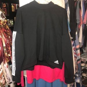 Adidas black crop top (size XL)